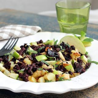 Warm Potato and Apple Salad with Boudin Noir.