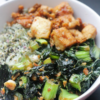 Vegan Maple Glazed Tofu, Bok Choy & Ramen Noodle Bowl