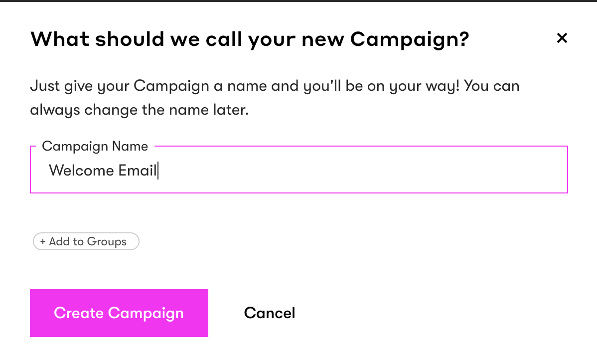 Name your welcome campaign.