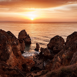Ponta da Piedade by Paweł Mielko - Landscapes Sunsets & Sunrises ( orange, cliffs, sunset, cliff, algarve, ocean, seascape, sunrise, atlantic, portugal, ponta da piedade,  )