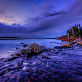 Blue Sunset by Tom Gallant - Landscapes Sunsets & Sunrises ( rivers, northern canada, long exposure, blue hour, landscape )