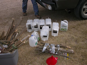 Photo: Bait traps ready to be hung.