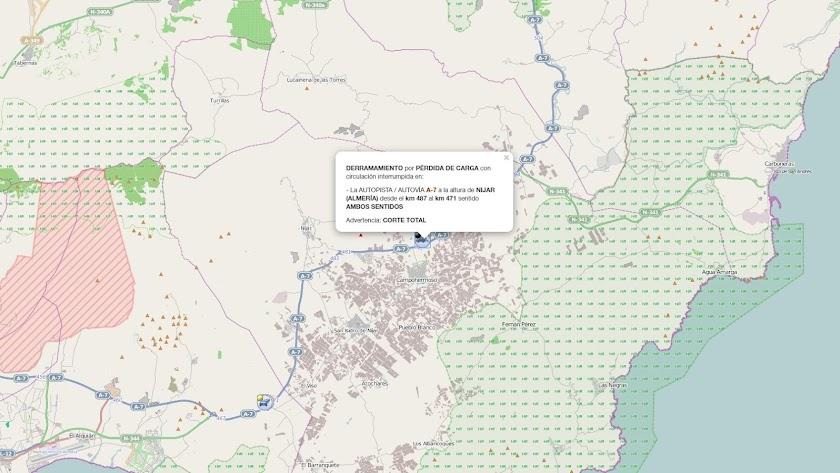 Información sobre el corte de la A7 en la web de la DGT.