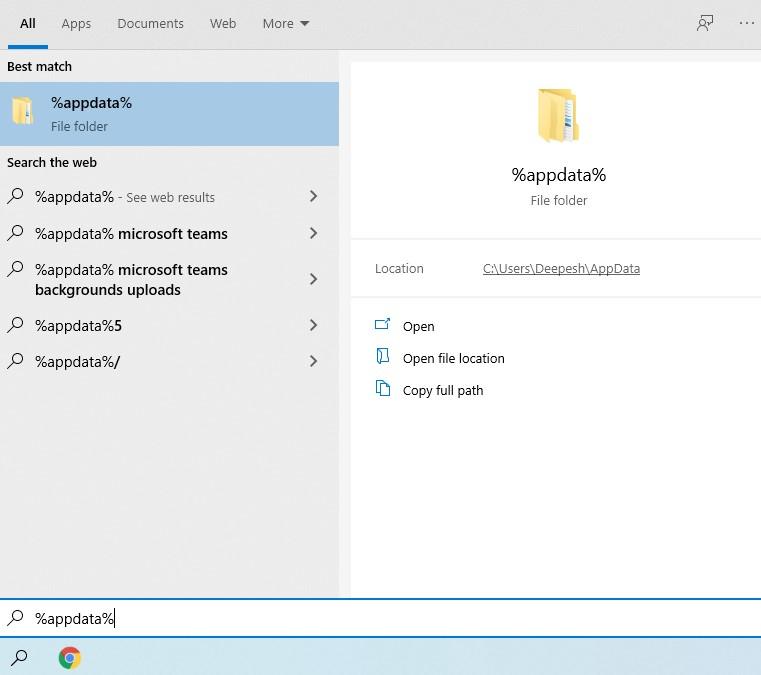 open %appdata% to delete data