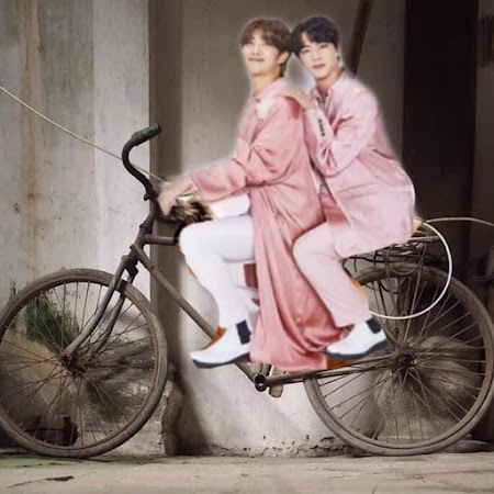 Namjoon and Jin cycling...