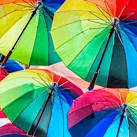 Umbrellas by Richard Michael Lingo - Artistic Objects Other Objects ( artistic objects, ceiling, rainbow, bucharest, umbrellas )