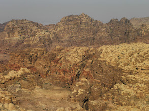 "Photo: Somewhere down there is Petra and to the right of the small ""V"" in the right hand corner is the Monastery"