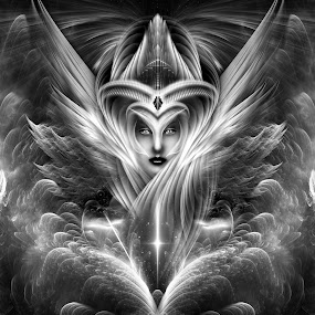 Enchantment Of Universality Fractal Art Composition by Rolando Burbon - Illustration Sci Fi & Fantasy ( fantasy, flames, female, wings, beautiful, enchantment, lady, beauty, fractal, portrait )