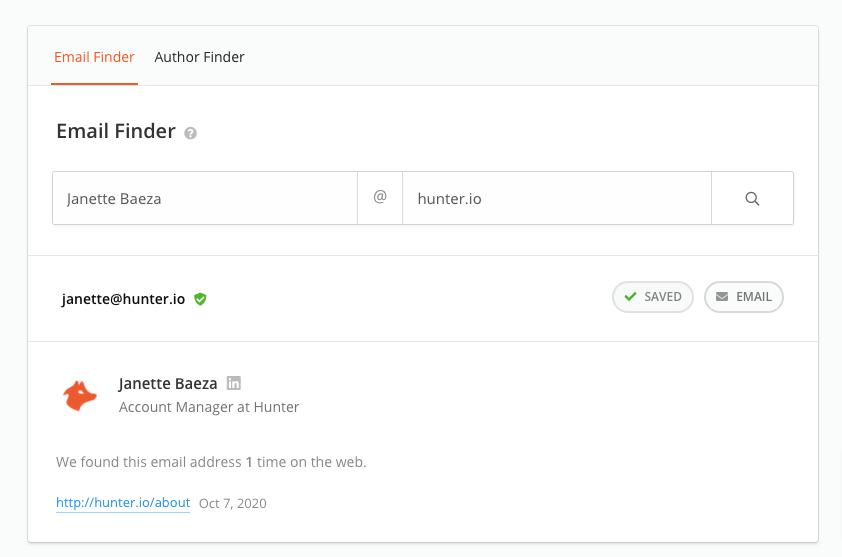 Hunter Email Finder Tool