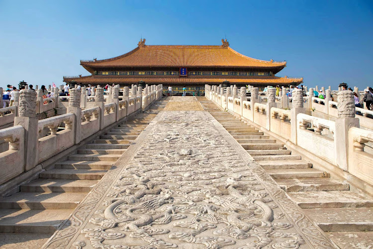 The Hall of Supreme Harmony is the largest hall within the Forbidden City of Beijing. See it on a world cruise.
