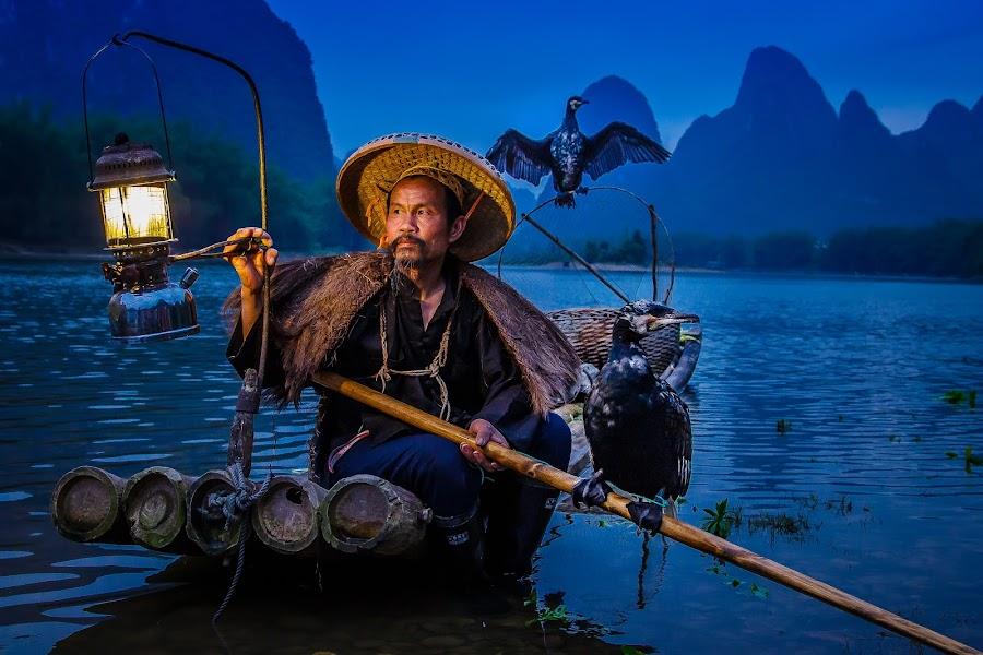 Blackbeard in the Blue Hour by David Long - People Portraits of Men ( cormorant, blue hour, blacbeard )