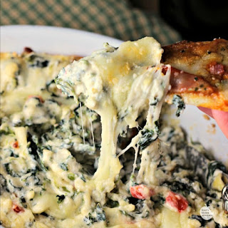 Hot and Cheesy Spinach Artichoke Dip with Pizza Dippers