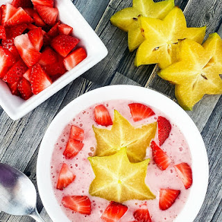 Strawberry Star Fruit Smoothie Bowl.
