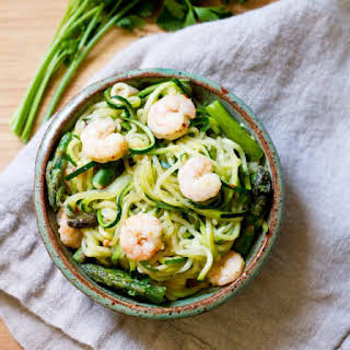 Spicy Shrimp and Asparagus over Zucchini Noodle Pasta.