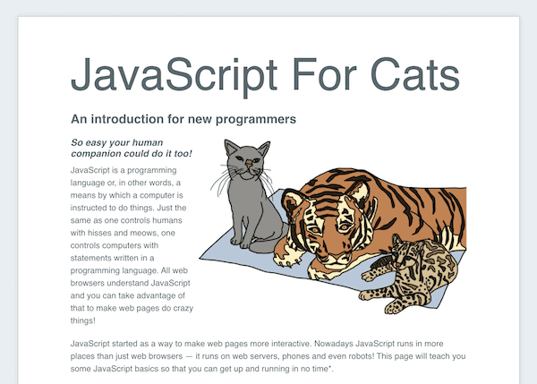 JavaScript for Cats home page