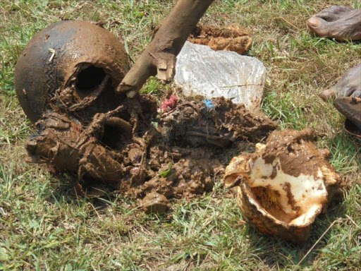 Some witchcraft paraphernalia discovered at Nabuganda in Samia.Photo Gilbert Ochieng