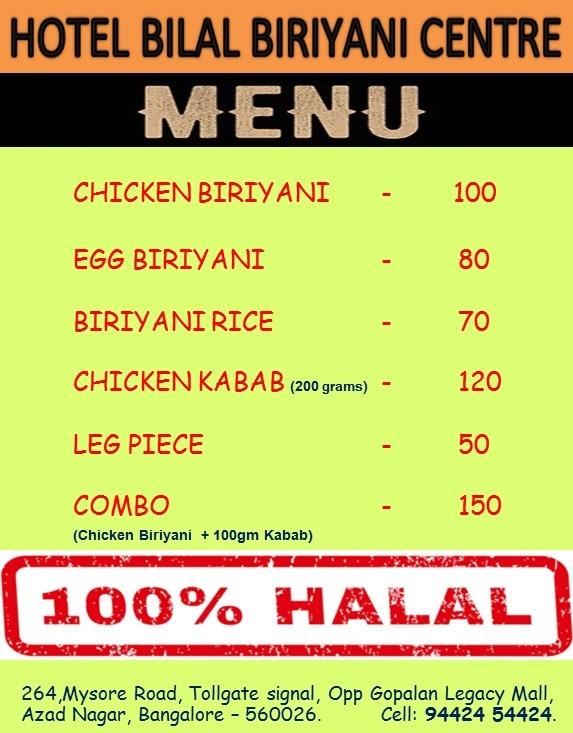 Hotel Bilal Biriyani Centre menu 1