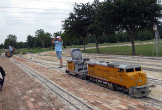 Photo: Pete Greene on the far left getting the passenger cars for him to pull with UP 9449.  Donna Greene waiting on him.    HALS 2009-0919