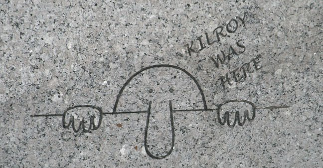 Kilroy engraving at the WWII Memorial.  Photo: Mack Rountree.