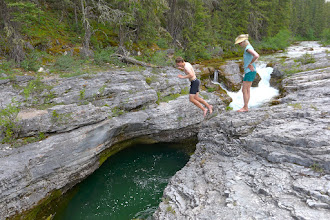 Photo: Atticus takes the plunge - there were several deep pools in the Devils Glen area. This one was over 10 ft. This is about 4 miles from the trailhead.