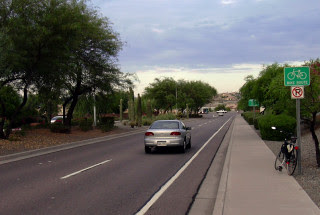 Photo: Chandler Blvd, Phoenix. (Pic7) Signed Bike Route with small shoulder. This is a very popular configuration in the City of Phoenix -- the through lane is narrow (~ 10 feet) coupled with a 2.5' shoulder.   This shot was taken in 2003. Chandler Blvd, westbound, section between 24th Street and Desert Foothills Parkway, Phoenix, AZ