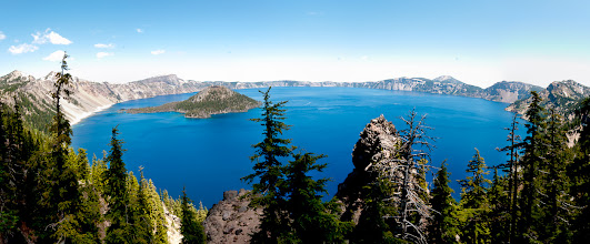 Photo: Crater Lake Pano  Today will be a lazy Saturday. A little clean up, some Olympics and a BBQ with friends is on the schedule.  I've got my Scavenger Hunt photos (only 8 of the 10) submitted for Ms. +Chrysta Raeand now I can get back to my other photos. It's been a while since I stitched together a panorama so I thought I'd start with one. This is made up from five images taken during the weekend at Crater Lake with +Brian Matiashand +Brad Sloan. The blue of the water in this lake is unreal and incredibly beautiful.  Happy Saturday everyone!