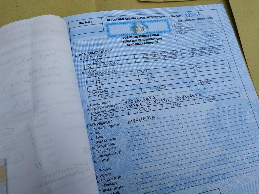 Mengisi Formulir Pepanjang SIM