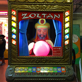 The Mighty Zoltan by Kristine Nicholas - Novices Only Objects & Still Life ( color, vintage, colors, coin op, psychic, game, machine, arcade game, light, antique, medium, arcade,  )