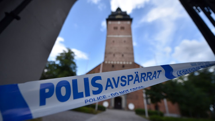 Police tape is pictured at Strangnas Cathedral after thieves stole royal crowns from the 17th century, in Strangnas, Sweden, July 31 2018. Picture: REUTERS/TT NEWS AGENCY