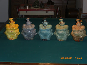 Photo: Red Wing Chef Pierre Cookie Jars yellow,Blue,  Speckled Blue/Green Green & Beige