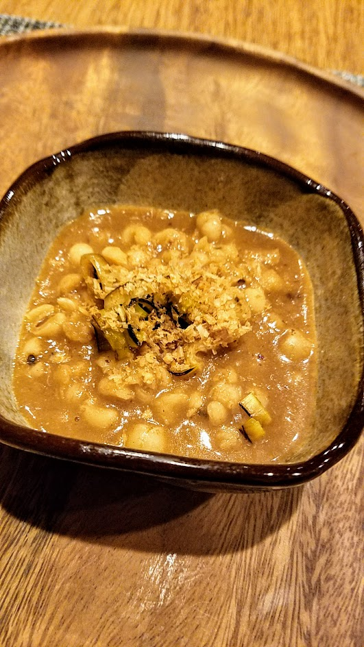 Nodoguro Princess Mononoke Sousaku Course Six: Japanese barley made into a Porridge with 7 year aged Miso, grilled leek, and toasted walnut.