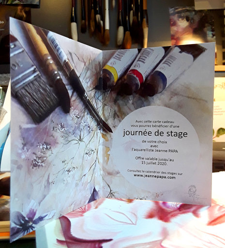 CARTE CADEAU 1 journée de STAGES aquarelle _ 2020 Jeanne PAPA_ fontainebleau, camille Varlet, seine et marne, moret sur loing