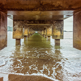 under the pier by Kelley Hurwitz Ahr - Buildings & Architecture Architectural Detail ( surfing last day )