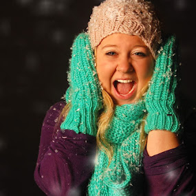 Winter Snow  by Ellason Boyle - People Portraits of Women ( colourful, cold, bright, snow, mittens, fun, hat )
