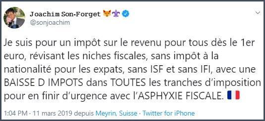 Tweet JSF Je suis pour un impôt sur le revenu pour tous dès le 1er euro