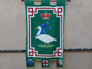 Photo: The flag of Contrada Oca (Goose) Our hotel is right in this small Contrada (neighborhood)