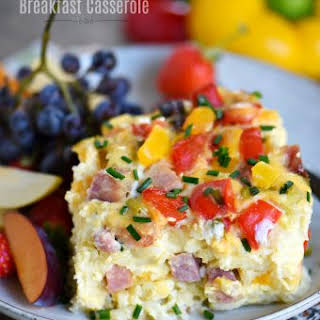 Slow Cooker Overnight Ham and Cheese Breakfast Casserole.