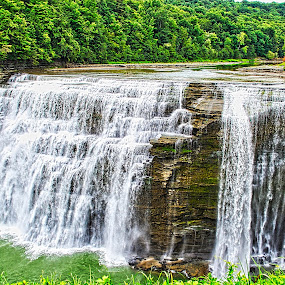 Genesee River Middle Falls, Letchworth State Park, New York by Sheri Fresonke Harper - Landscapes Waterscapes ( genesee river, middle, falls, waterfall, sheri fresonke harper, letchworth, river, state park, new york, moving, water,  )