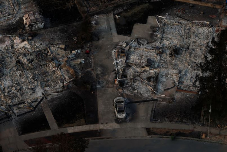 An aerial view of properties destroyed by the Tubbs Fire is seen in Santa Rosa, California, US, October 11, 2017.