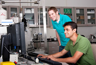 Photo: Anmiv and Kevin are fabricating solid-state naopores using FIB-SEM method. Photo taken by Evan Rosen