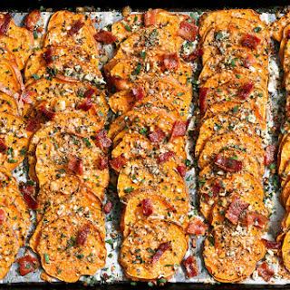 Garlic Parmesan Roasted Sweet Potatoes.