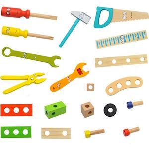 Trusa cu unelte din lemn pentru copii