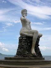 Photo: A lonely statue in Kep, a somewhat ruined seaside town.