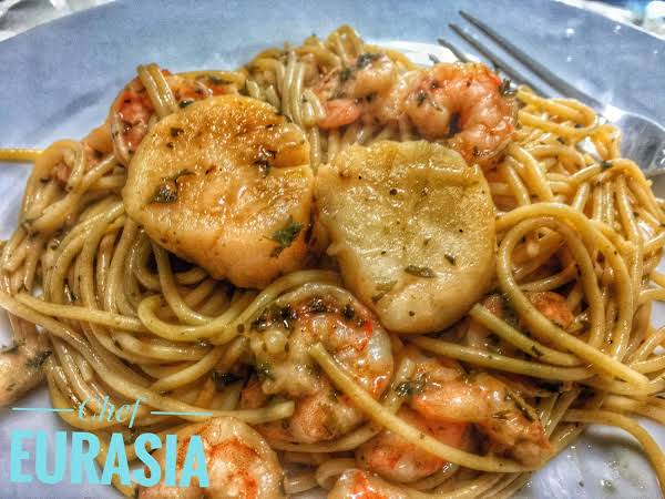 Scallop & Shrimp Scampi Over Pasta
