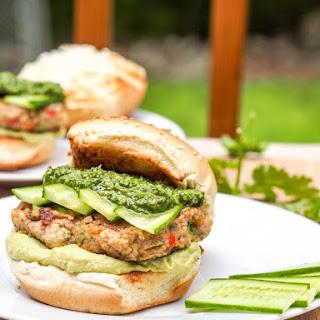 Bubba Veggie Burgers with Cilantro Parsley Pesto and Avocado Hummus {Gluten-Free, Vegan}.