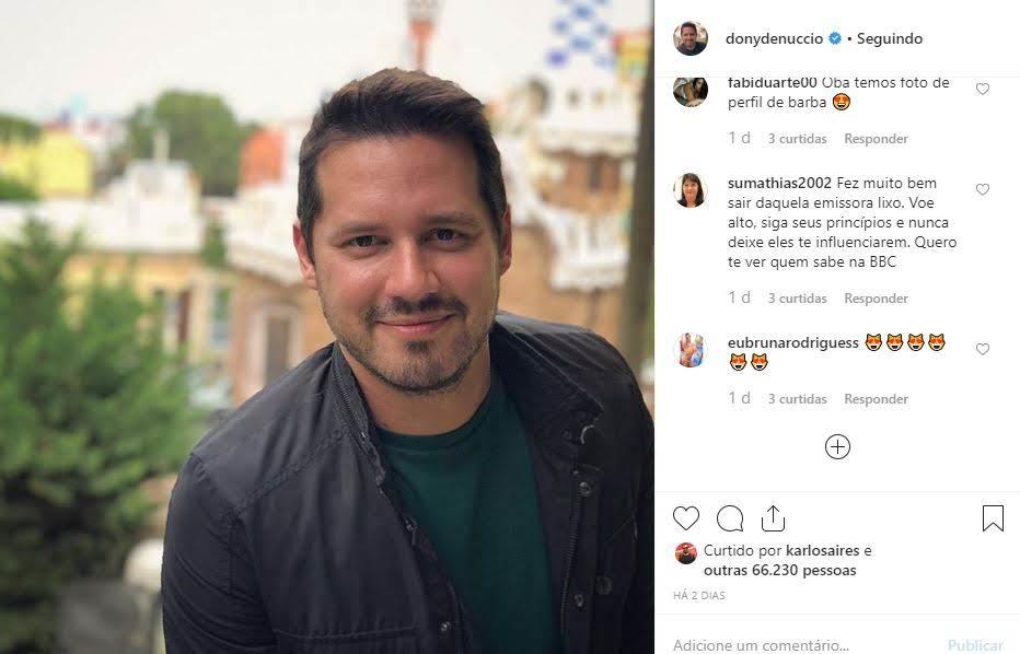 Publicação de Dony De Nuccio que recebeu o comentário