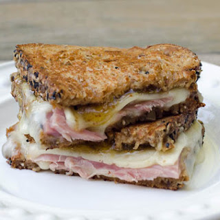 Ham and Havarti Grilled Cheese with Fig Preserves.