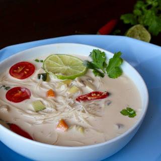 Vegetable Coconut Milk Soup With Vermicelli Noodles.