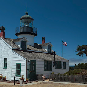 Monterey Lighthouse by Pete Bobb - Buildings & Architecture Public & Historical ( open to public, california, white, lighthouse, oldest,  )