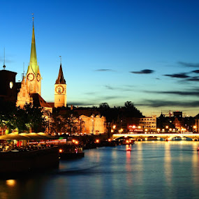 Night at Zurich Lake by Dhies Asgar - Landscapes Travel